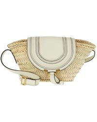 Chloé Small Marcie Basket Bag Hand-Braided Raffia Natural White - Weiß