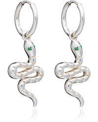 Rachel Jackson London Emerald Snake Huggie Hoop Earrings Silver - Métallisé