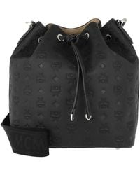MCM Essential Monogrammed Leather Drawstring Medium Black