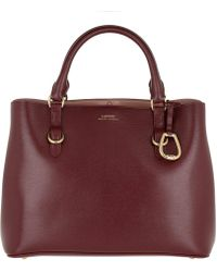 Lauren by Ralph Lauren - Pebbled Leather Satchel Medium Merlot/rose Smoke - Lyst