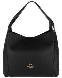 COACH Polished Pebble Leather Hadley Hobo - Black