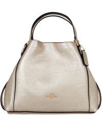 COACH - Edie 28 Metallic Leather Shoulder Bag Platinum - Lyst