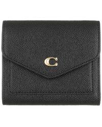 COACH Crossgrain Leather Wyn Small Wallet - Noir