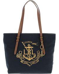 Lauren by Ralph Lauren - Seabrook Tote Medium (navy/gold Logo) Tote Handbags - Lyst
