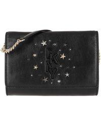DKNY Krescent Clutch Crossbody Bag Black Gold - Noir