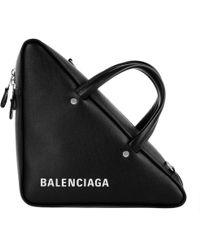 Balenciaga - Triangle Shoulder Bag Leather Black - Lyst