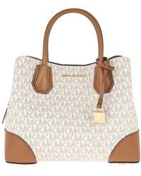 Michael Kors - Mercer Gallery Satchel Bag Vanilla/Acorn - Lyst