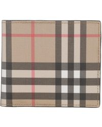 Burberry Vintage Check E-canvas Wallet with ID Card Case - Neutre