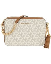 Michael Kors Ginny Medium Logo Crossbody Bag Vanilla - Natur