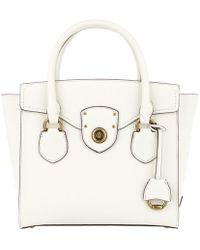 Lauren by Ralph Lauren - Millbrook Satchel Bag Pebbled Leather Vanilla - Lyst