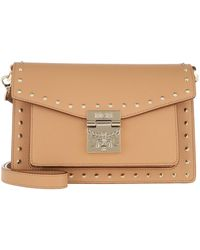 MCM Patricia Studded Outline Crossbody Small Biscuit - Neutre