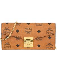 MCM Patricia Visetos Wallet On Chain Large Cognac - Marron
