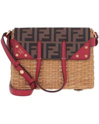 Fendi Small Flip Shoulder Bag Rattan/leather Natural/maya