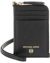 Michael Kors Jet Set Leather Small ID Lanyard Black - Noir