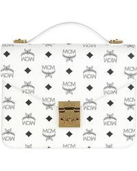 MCM Patricia Visetos Satchel Bag Medium White