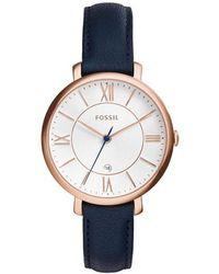 Fossil - Jacqueline Watch Leather Navy - Lyst