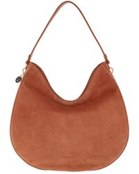Coccinelle Alpha Suede Hobo Bag Tan - Marron
