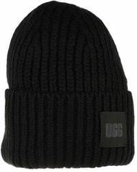 UGG Women Chunky Rib Beanie Trimmings - Noir