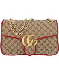 Gucci GG Marmont Satchel Bag Matelassé Beige/red - Natural