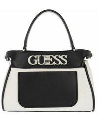 Guess Uptown Chic Large Satchel Bag - Black