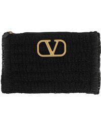 Valentino V Logo Clutch Woven Viscose Raffia Black