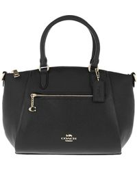 COACH Polished Pebble Leather Elise Satchel Black