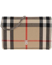 Burberry Vintage Check Wallet On Chain Black - Natur
