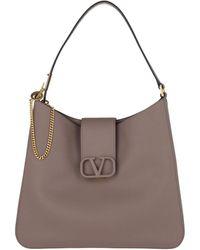 Valentino V Sling Hobo Bag Leather Grey