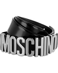 Moschino Logo Belt Patent Leather Black
