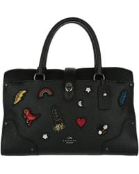COACH - Embroidered Mercer 30 Satchel Black - Lyst