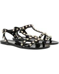 Valentino Rockstud Flat Sandals Soft PVC Black - Noir