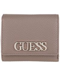 Guess Uptown Chic Small Trifold Wallet Taupe - Grau