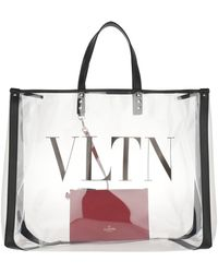 Valentino VLTN Plexy Shopping Bag PVC Transparent - Noir
