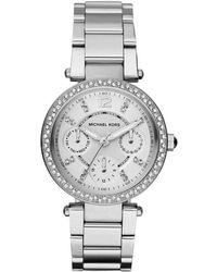 Michael Kors - Silvertone Mini Parker Stainless Steel Crystal Bezel Ladies ́ Bracelet Watch - Lyst