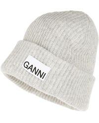 Ganni Recycled Wool Hat Paloma Melange - Grau