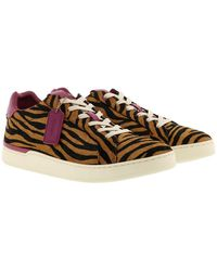 COACH Low Line Top Sneaker Black Camel/Hibiscus - Multicolore