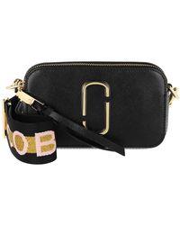 Marc Jacobs Logo Strap Snapshot Small Camera Bag Leather New Black - Schwarz
