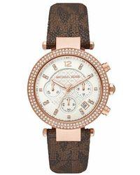 Michael Kors Ladies Parker Chronograph Pvc Watch - Brown