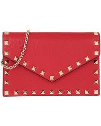 Valentino Rockstud Envelope Shoulder Bag Rouge Pur