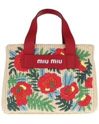 Miu Miu Flower Knitting Handbag Natural Red - Neutre