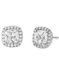 Michael Kors Brilliance Sterling Silver Cushion Cut Earring - Métallisé