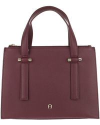 Aigner Lana M Handle Bag Burgundy - Rouge