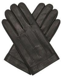 Tommy Hilfiger Logo Embossed Leather Gloves L-xl - Black