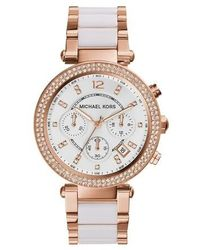 Michael Kors Ladies Parker Chronograph Two-Tone Stainless Steel - Multicolore