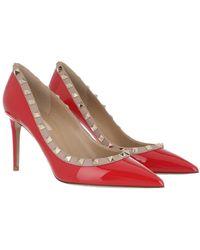Valentino Garavani Rockstud Patent Court Shoes Red