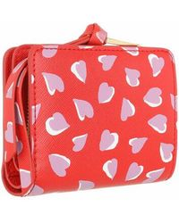 Marc Jacobs The Snapshot Compact Wallt Printed Hearts - Rood