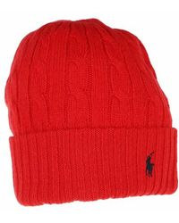 Polo Ralph Lauren Classiccable Hat Cold Weather - Rouge
