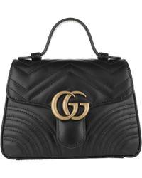 973e1614c89e Gucci Gg Marmont Large Shoulder Bag Leather Black in Black - Lyst