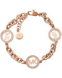 Michael Kors | Chain Link Bracelet Logo Rosé Gold-tone | Lyst
