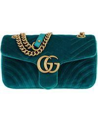 ea76f9933cb3c Gucci Gg Marmont Velvet Small Shoulder Bag in Blue - Lyst
